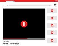 Progettazione della finestra del sito Web di vettore piana Utente con il modello dell'interfaccia del riproduttore video Fotografie Stock Libere da Diritti