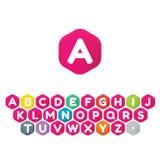 Progettazione della fonte dell'icona di logo del cubo Fotografia Stock