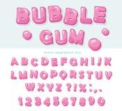 Progettazione della fonte di gomma da masticare Lettere e numeri dolci di ABC Immagini Stock Libere da Diritti