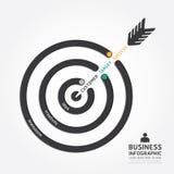 Progettazione della freccia di affari di vettore di Infographics obiettivo del cliente Fotografie Stock Libere da Diritti