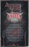 Progettazione della lavagna del menu della bistecca Fotografia Stock