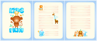 Progettazione della lista del menu dei bambini con la pagina anteriore e le pagine per i piatti Immagini Stock