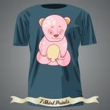 Progettazione della maglietta con il fumetto dell'orso rosa sveglio del bambino Immagini Stock
