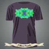 Progettazione della maglietta con l'illustrazione astratta variopinta con il triangolo Fotografie Stock Libere da Diritti