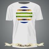 Progettazione della maglietta con l'illustrazione astratta variopinta con il triangolo Fotografia Stock Libera da Diritti