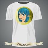 Progettazione della maglietta con l'illustrazione della ragazza del fumetto con capelli blu Fotografia Stock Libera da Diritti