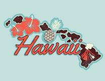 Progettazione della maglietta del grafico di vettore delle Hawai nel retro stile Fotografie Stock Libere da Diritti