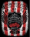 Progettazione della maglietta dell'etichetta del motociclo con l'illustrazione Fotografie Stock
