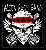 Progettazione della maglietta dell'uomo di vettore di musica di banda del rotolo della roccia n del cranio illustrazione di stock