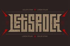 Progettazione della maglietta della roccia Lasci il manifesto di concerto di musica rock del ` s con rosso illustrazione di stock