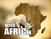 Progettazione della mappa della fauna selvatica dell'Africa con il rinoceronte Fotografie Stock Libere da Diritti
