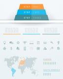 Progettazione della mappa di mondo della piramide di Infographic 3d Immagine Stock Libera da Diritti