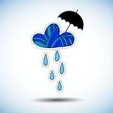 Progettazione della natura dell'illustrazione del cielo di stagione del tempo della nuvola di pioggia dell'ombrello royalty illustrazione gratis