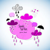 Progettazione della natura dell'illustrazione del cielo di stagione di vettore del tempo della nuvola di pioggia dell'ombrello royalty illustrazione gratis