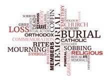 Progettazione della nuvola di parola di cerimonia di sepoltura o di funerale illustrazione di stock