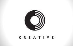 Progettazione della O Logo Letter With Black Lines Linea vettore Illust della lettera Fotografia Stock