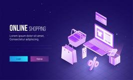 Progettazione della pagina di atterraggio con l'illustrazione 3D del computer portatile e dell'acquisto Fotografia Stock Libera da Diritti