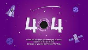 Progettazione della pagina di errore 404 del ` del buco nero del ` degli elementi dello spazio Fotografia Stock