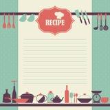 Progettazione della pagina di ricetta. Stile d'annata che cucina la pagina del libro Fotografia Stock Libera da Diritti