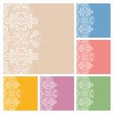 Progettazione della raccolta delle cartoline d'auguri dell'invito o di nozze con il modello del pizzo, illustrazione ornamentale Fotografie Stock