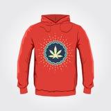 Progettazione della stampa di maglia con cappuccio di vettore dell'emblema di Ganjah con la foglia della marijuana - modello dell Fotografia Stock