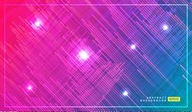 Progettazione della stampa di modo di tecnologia con le bande e le linee al neon Fondo futuristico con le tracce di muovere le lu illustrazione di stock