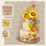 Progettazione della torta nunziale con il girasole e la vigna selvaggia Fotografia Stock Libera da Diritti