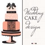 Progettazione della torta nunziale con il vettore dell'arco e del pizzo Fotografia Stock Libera da Diritti