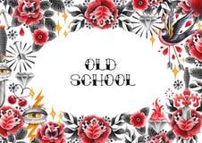 Progettazione della vecchia scuola dell'acquerello Fotografie Stock Libere da Diritti