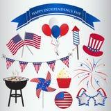 Progettazione delle icone per la quarta della festa dell'indipendenza di luglio Immagine Stock