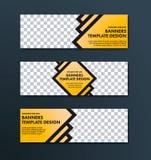 Progettazione delle insegne di web di vettore di colore giallo con il colpo nero a immagine stock
