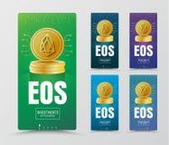 Progettazione delle insegne verticali di web con la moneta di oro del curr cripto di EOC Fotografia Stock