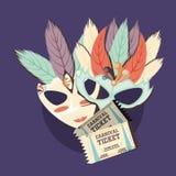 Progettazione delle maschere di carnevale illustrazione di stock