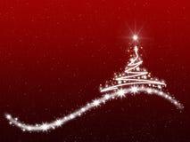 Progettazione delle scintille dell'albero di natale bianco e di rosso Immagine Stock