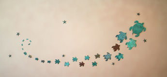 Progettazione delle tartarughe sul soffitto Ornamenti sulle pareti Immagine Stock