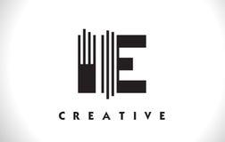 Progettazione dello IE Logo Letter With Black Lines Linea vettore Illus della lettera Immagine Stock