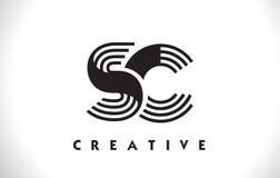 Progettazione dello Sc Logo Letter With Black Lines Linea vettore Illus della lettera Fotografia Stock