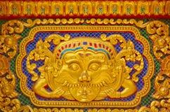 Progettazione dello stucco dell'oro di stile tailandese indigeno Fotografia Stock