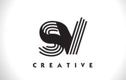 Progettazione dello SV Logo Letter With Black Lines Linea vettore Illus della lettera Fotografia Stock