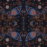 Progettazione dettagliata di Paisley e floreale della sciarpa Retro reticolo senza giunte Fotografie Stock