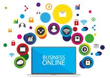 Progettazione di affari di comunicazione della rete sociale illustrazione di stock