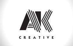 Progettazione di AK Logo Letter With Black Lines Linea vettore Illus della lettera Fotografia Stock Libera da Diritti