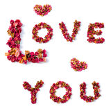 Progettazione di amore che esprimete dalle foglie del fiore Fotografie Stock