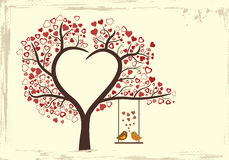 Progettazione di amore degli uccelli nello stile d'annata, Fotografia Stock