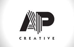 Progettazione di AP Logo Letter With Black Lines Linea vettore Illus della lettera Fotografie Stock Libere da Diritti