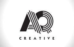 Progettazione di AQ Logo Letter With Black Lines Linea vettore Illus della lettera Immagini Stock