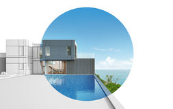 Progettazione di architettura della casa moderna di vista del mare Fotografia Stock Libera da Diritti