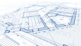 Progettazione di architettura: piano del modello - illustrazione di un MOD di piano immagini stock