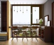 Progettazione di area pranzante, interno di stile accogliente moderno illustrazione di stock
