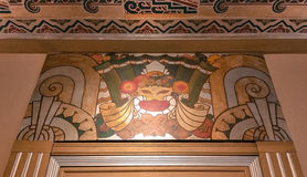 Progettazione di Art Deco sulla parete e sul soffitto ristabiliti del teatro Fotografia Stock Libera da Diritti
